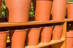 Row of clay or terracotta pots Royalty Free Stock Photography