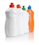 Row of cleaning bottles Royalty Free Stock Image