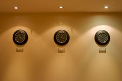 Row of clock on the wall Stock Photography