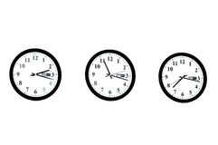 Row of clocks isolated Royalty Free Stock Images