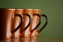 Row of coffee mugs Royalty Free Stock Photo