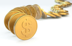 Row of coins collapsing. Row of coins - 3D concept image vector illustration