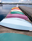 Row of color boat on a pier Royalty Free Stock Photography