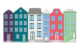 Row of color houses, vector illustration Royalty Free Stock Image