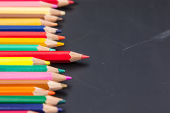 Row of color pencil Stock Photos