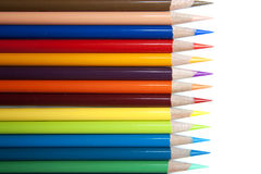 Row of Color Pencils. On white Stock Image