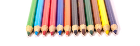 Row of color pencils. Stock Images