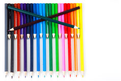 Row of color pencils on white background. With copy space on right Royalty Free Stock Photos