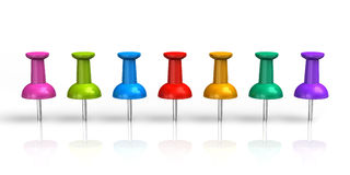 Row of color pushpins. Isolated on white reflective background vector illustration