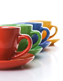 Row of color tea cups Royalty Free Stock Photo