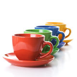 Row of color tea cups Royalty Free Stock Photography