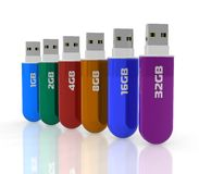 Row of color USB flash drives Royalty Free Stock Photo
