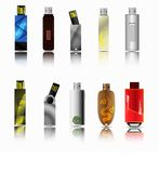 Row of color USB flash drives Stock Photos