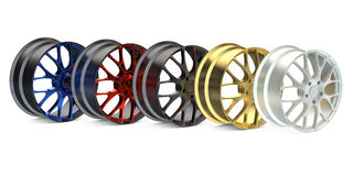 Row from colored car rims Stock Image