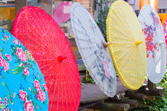 Row of colored Chinese umbrellas Stock Images