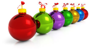 Row of colored christmas balls Stock Images
