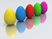 Row of colored eggs. 3D. Royalty Free Stock Photography