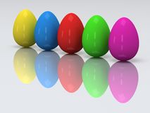 Row of colored eggs. 3D. Stock Image
