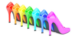 Row from colored high heel shoes, back view. 3D rendering vector illustration