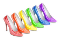 Row from colored high heel shoes, 3D rendering royalty free illustration