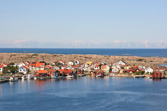 Row of colored houses, Smogen, Sweden. Royalty Free Stock Images