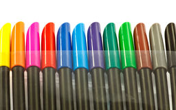 Row of colored marker pen tops Stock Photos