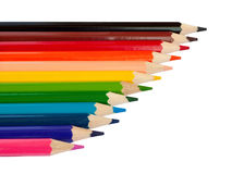 Row of colored pencils Stock Photo