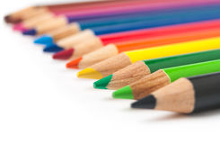 Row of colored pencils close-up stock photo