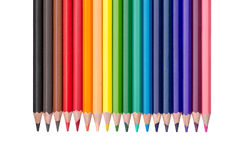Row of colored pencils isolated on white Stock Photo