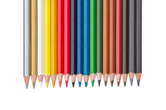 Row of colored pencils isolated on white Royalty Free Stock Photo