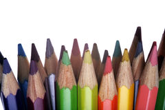 Row of colored pencils Stock Images