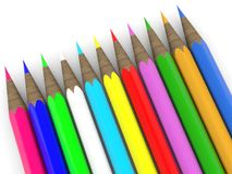 Row of colored pencils on white. In backgrounds vector illustration