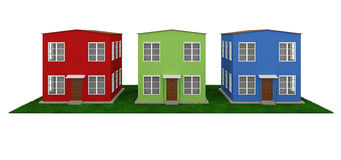 A row of colored small houses Stock Photography