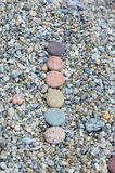 Row of colored smooth stones polished by Baikal Lake Stock Images