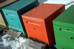Beehives in winter. Row of colorful beehives, winter scene royalty free stock photos