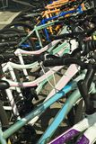 Row of colorful bicycles Royalty Free Stock Image