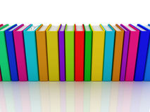Row of colorful books. 3D render Royalty Free Stock Photo