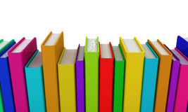 Row of colorful books. 3D render Stock Image