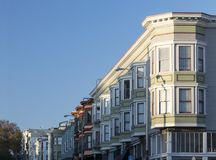 Row of colorful buildings along a street in San Francisco Califo. Rnia Royalty Free Stock Photo