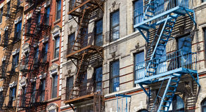Row of Colorful Buildings in New York Stock Image