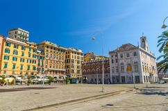 Row of colorful buildings in historical centre of old european city Genoa royalty free stock photography