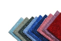 Row of colorful carpet samples Stock Image