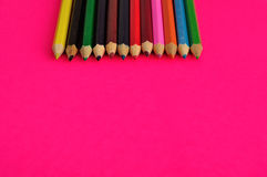 A row of colorful coloring pencils Royalty Free Stock Images