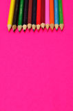 A row of colorful coloring pencils Stock Photography