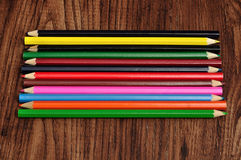 A row of colorful coloring pencils Royalty Free Stock Photography