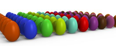A row of colorful easter eggs - a 3d image. A lot of colorful Easter eggs in rows, a 3d image vector illustration