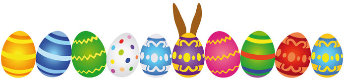 Row of colorful Easter eggs royalty free illustration