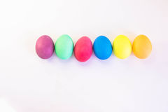 Row of colorful easter eggs isolated on a white background Royalty Free Stock Image