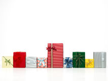 Row of colorful gift boxes Stock Image