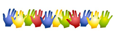 Row Colorful Hands Silhouettes. A clip art illustration of a row of colorful hands in green, blue, red and yellow - isolated on white Stock Images